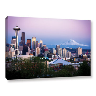 Brushstone Seattle And Mt. Rainier 2 Gallery Wrapped Canvas Wall Art
