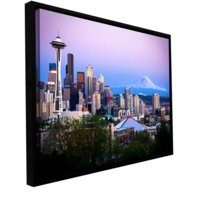Brushstone Seattle And Mt. Rainier 2 Gallery Wrapped Floater-Framed Canvas Wall Art