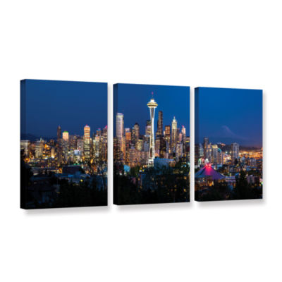Brushstone Seattle Night 3-pc. Gallery Wrapped Canvas Wall Art