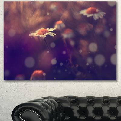 Designart Cute Vintage Flower With Bokeh Large Floral Canvas Art Print - 3 Panels