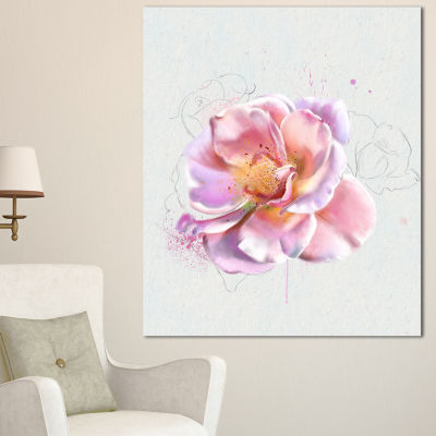 Design Art Cute Watercolor Pink Rose Sketch FlowersCanvas Wall Artwork