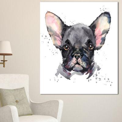Designart Cute Watercolor Puppy Dog Animal CanvasWall Art