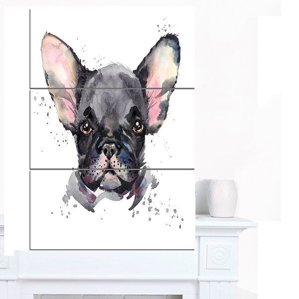 Designart Cute Watercolor Puppy Dog Animal CanvasWall Art - 3 Panels