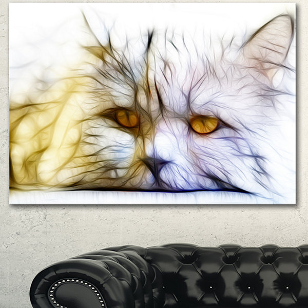 Design Art Cute White Cat Fractal Illustration Animal Canvas Art Print