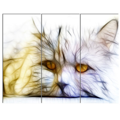 Designart Cute White Cat Fractal Illustration Animal Canvas Art Print - 3 Panels