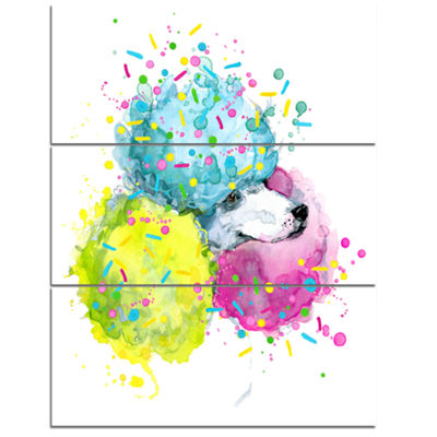 Designart Cute White Dog With Color Spheres Contemporary Animal Art Canvas - 3 Panels
