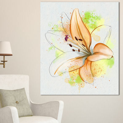 Designart Cute Yellow Flower With Green SplashesFloral Canvas Art Print