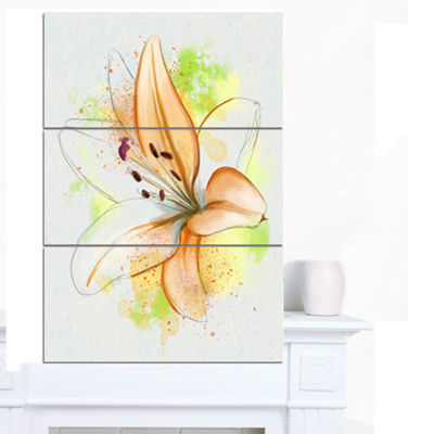 Designart Cute Yellow Flower With Green SplashesFloral Canvas Art Print - 3 Panels
