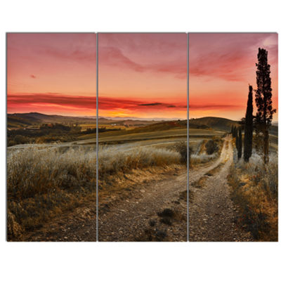 Designart Cypress Trees On Road Tuscany Large Landscape Canvas Art - 3 Panels