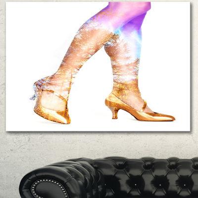 Designart Dancer Legs And Treescape Double Exposure Portrait Canvas Art Print - 3 Panels