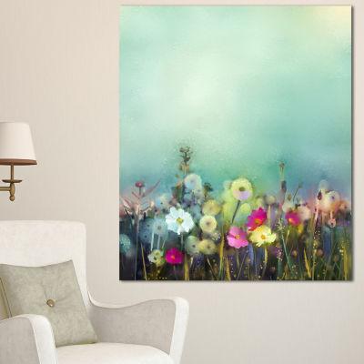 Designart Dandelion Poppy And Daisy Flowers FloralCanvas Art Print - 3 Panels