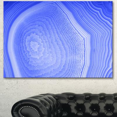 Designart Dark Blue Agate Structure Abstract Canvas Art Print - 3 Panels