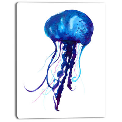 Designart Dark Blue Jellyfish Watercolor Animal Canvas Art Print