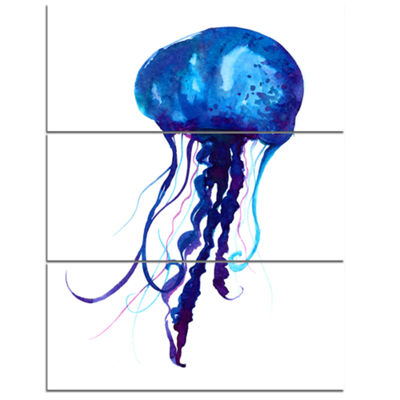 Designart Dark Blue Jellyfish Watercolor Animal Canvas Art Print - 3 Panels