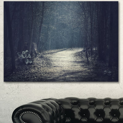 Designart Dark Forest With Empty Road Forest Canvas Art Print