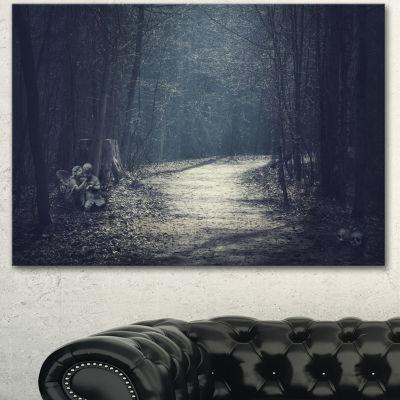 Designart Dark Forest With Empty Road Forest Canvas Art Print - 3 Panels