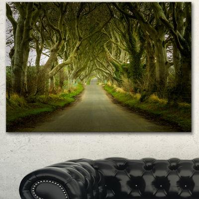 Design Art Dark Hedges Road Through Old Trees Landscape Canvas Art Print - 3 Panels