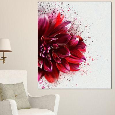 Designart Dark Red Watercolor Rose Flower FloralCanvas Art Print - 3 Panels