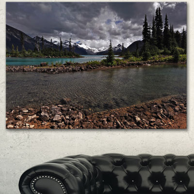 Designart Dark Sky Over Crystal Clear Lake ExtraLarge Landscape Canvas Art Print