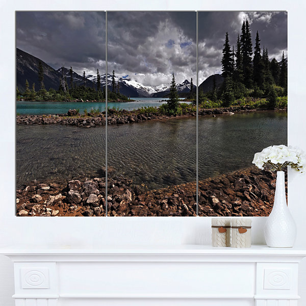 Design Art Dark Sky Over Crystal Clear Lake ExtraLarge Landscape Canvas Art Print - 3 Panels