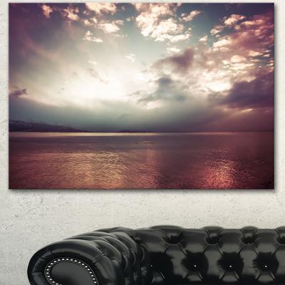 Designart Dark Sunset With Dramatic Sky Large Seashore Canvas Art Print