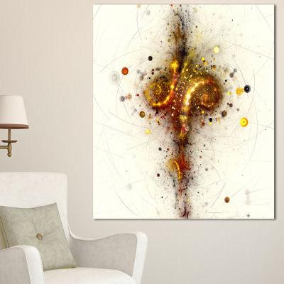 Design Art Dark Yellow Fractal Art Design AbstractCanvas Wall Art Print - 3 Panels