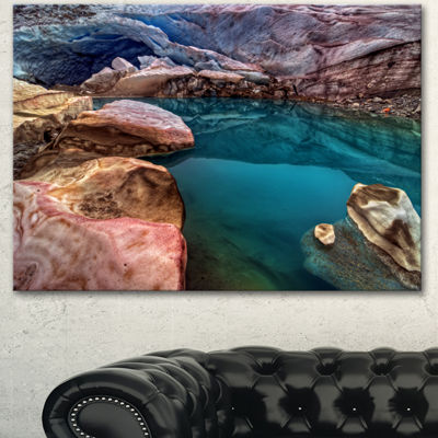 Designart Deep Glacier Cave In Blue Landscape Canvas Art Print - 3 Panels