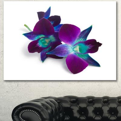 Designart Deep Purple Orchid Flowers On White Flowers Canvas Wall Artwork