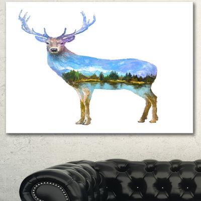 Designart Deer Double Exposure Illustration LargeAnimal Canvas Art Print