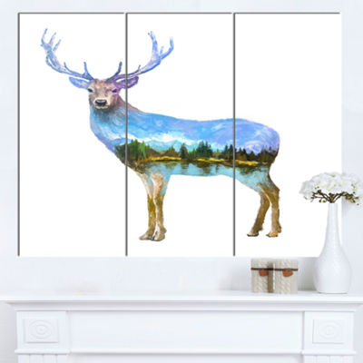 Designart Deer Double Exposure Illustration LargeAnimal Canvas Art Print - 3 Panels