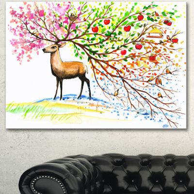 Designart Deer With Beautiful Horn Abstract CanvasArt Print - 3 Panels