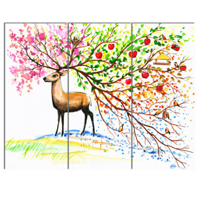 Designart Deer With Beautiful Horn Abstract CanvasArt Print - 3 Panels