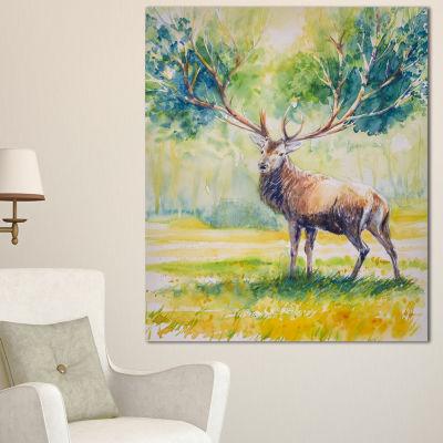 Designart Deer With Blue Horn Abstract Canvas ArtPrint - 3 Panels