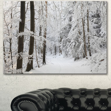 Designart Dense Winter Forest And Lane Large Forest Canvas Art Print