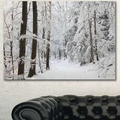 Designart Dense Winter Forest And Lane Large Forest Canvas Art Print - 3 Panels