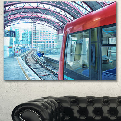Designart Departing London Subway Train Modern Cityscape Canvas Art Print - 3 Panels