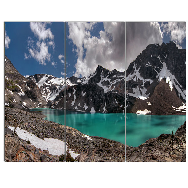 Design Art Distant Mountains And Mountain Lake Landscape Canvas Art Print - 3 Panels