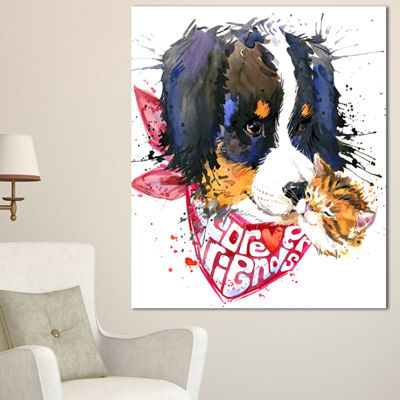 Designart Dog And Cat Friends Forever Animal Canvas Art Print