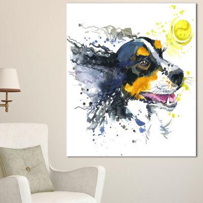 Designart Dog And Yellow Ball Watercolor AbstractCanvas Art Print