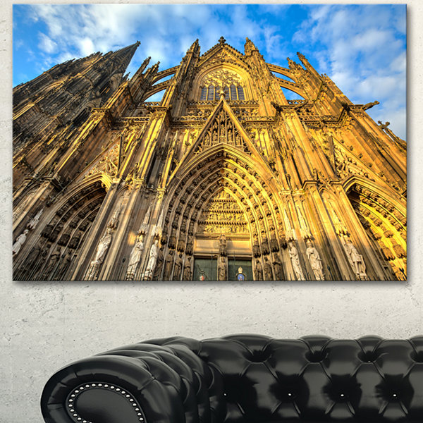 Design Art Dom Church In City Cologne Lit By Sun Large Cityscape Art Print On Canvas