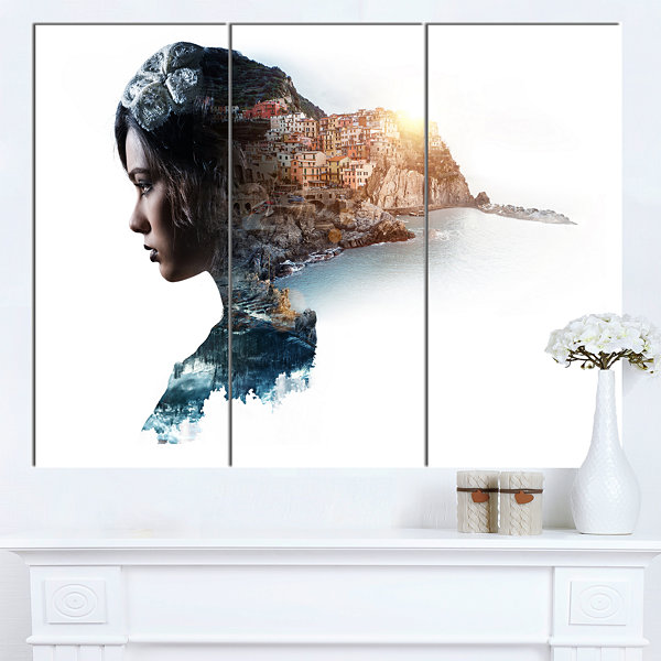 Designart Double Exposure Woman Portrait PortraitCanvas Art Print - 3 Panels