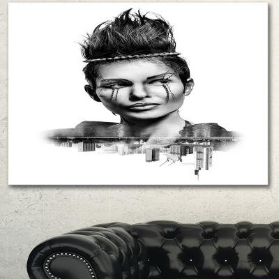 Designart Double Exposure Woman With Hair PortraitCanvas Art Print