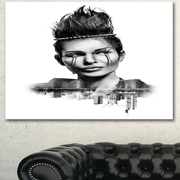 Design Art Double Exposure Woman With Hair PortraitCanvas Art Print - 3 Panels
