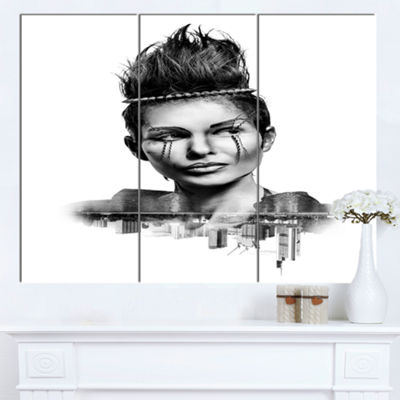 Designart Double Exposure Woman With Hair PortraitCanvas Art Print - 3 Panels