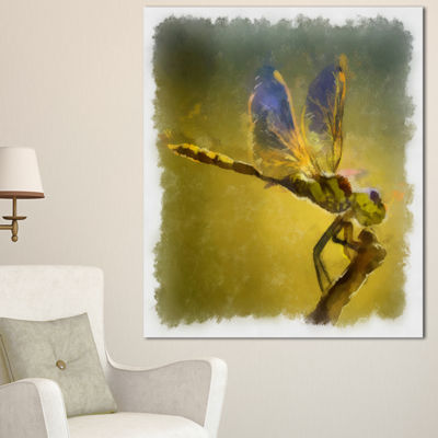 Designart Dragon Fly Watercolor Illustration LargeAnimal Canvas Artwork - 3 Panels