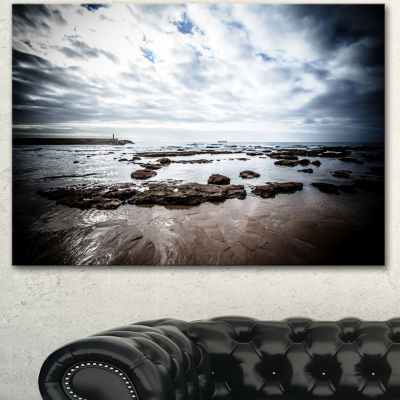 Designart Dramatic Atlantic Coast At Low Tide Seashore Canvas Art Print - 3 Panels