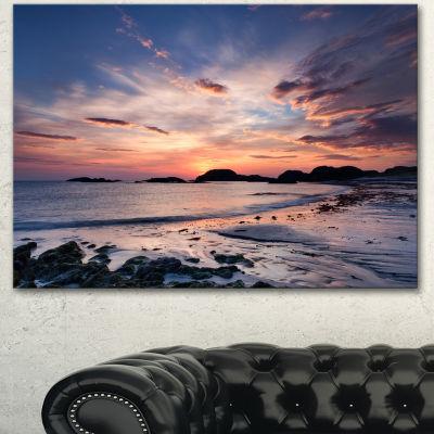 Designart Dramatic Sky At Sunset On Isle Of Iona Seashore Canvas Art Print - 3 Panels