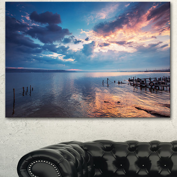 Designart Dramatic Sky Over Sunset Lake Large Landscape Canvas Art