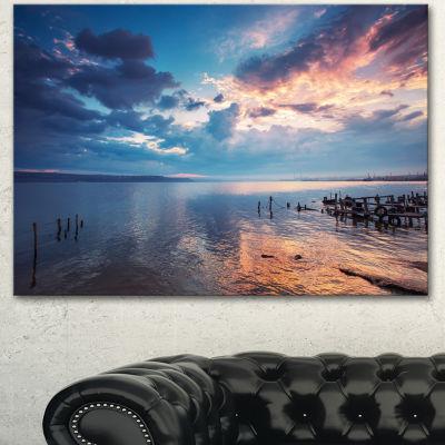 Designart Dramatic Sky Over Sunset Lake Large Landscape Canvas Art - 3 Panels