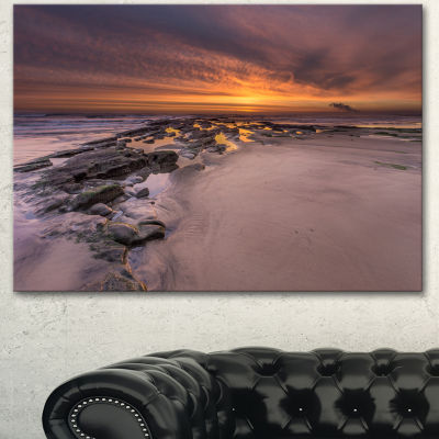 Designart Dramatic Sunrise Over Sandy Beach Seashore Canvas Art Print - 3 Panels